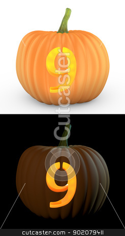Number 9 carved on pumpkin jack lantern stock photo, Number 9 carved on pumpkin jack lantern isolated on and white background by Zelfit