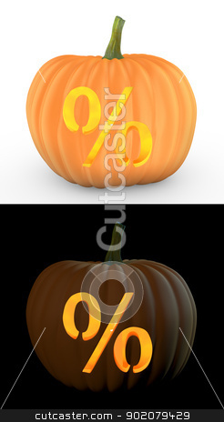 Percent symbol carved on pumpkin jack lantern stock photo, Percent symbol carved on pumpkin jack lantern isolated on and white background by Zelfit