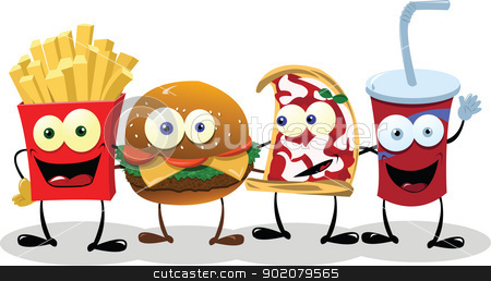 Four Happy Friends stock vector clipart, A group of friendly Fast Food meals by pcanzo