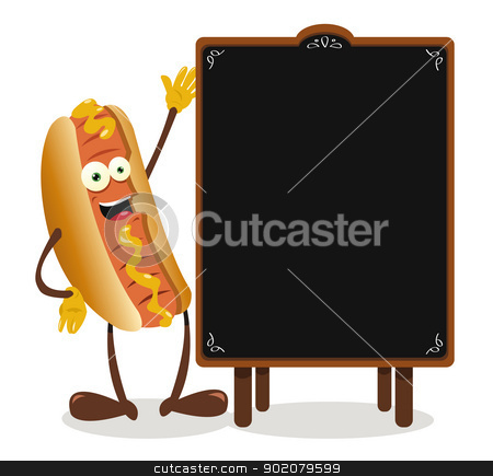Funny Hot dog and a blackboard stock vector clipart, a vector cartoon representing a funny hotdog and a blackboard with copy space by pcanzo