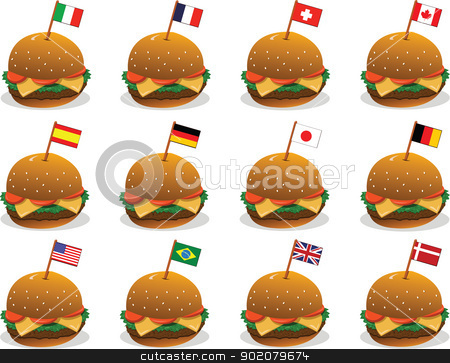 Flags on Sandwiches stock vector clipart, 12 vector sandwiches and 12 different countries by pcanzo