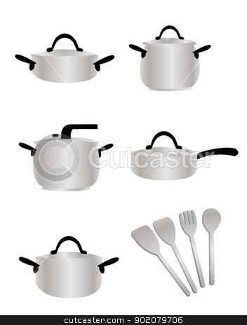 Cooking Equipment stock vector clipart, a vector cartoon representing a cooking set by pcanzo