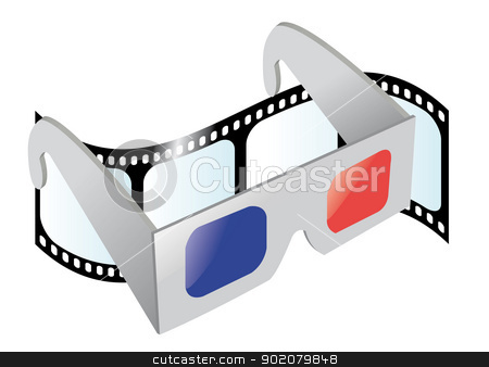 Cinema 3D Glasses stock vector clipart, a vector cartoon representing a pair of 3D glasses and a movie film on the background by pcanzo