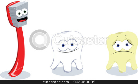 Toothbrush and teeth stock vector clipart, a vector cartoon representing a happy toothbrush and 2 teeth: the first one happy and clean, the second one sad and dirty by pcanzo