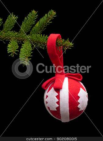 Xmas decoration stock photo, Retro Christmas ball hanging on a tree branch. by Sinisa Botas