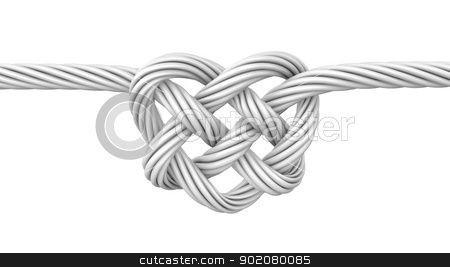 White heart shaped knot stock photo, White heart shaped knot, isolated on white background by Zelfit