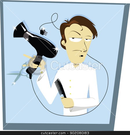 Funny Coiffeur stock vector clipart, A funny vector cartoon representing a hair stylist by pcanzo
