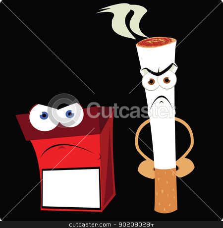 Bad Companies stock vector clipart, a vector cartoon representing a funny cigarette and a cigarette box by pcanzo