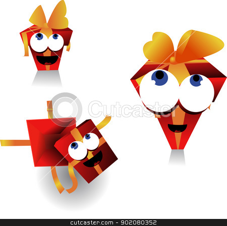 funny gift stock vector clipart, three different views of the same gift by pcanzo