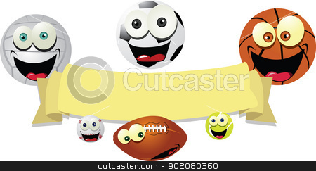 Funny Balls Banner stock vector clipart, a vector cartoon representing a funny banner with smiling balls by pcanzo