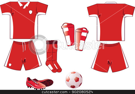 red and white soccer equipment stock vector clipart, all you need to play soccer game... every object is grouped and you can easily add numbers or names on the shirt! by pcanzo