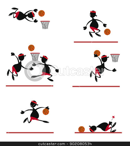 Funny Basket Player stock vector clipart, a vector cartoon representing a funny basket player in different poses by pcanzo