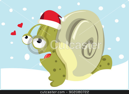 Christmas Snail stock vector clipart, A funny snail wearing a santa hat  by pcanzo