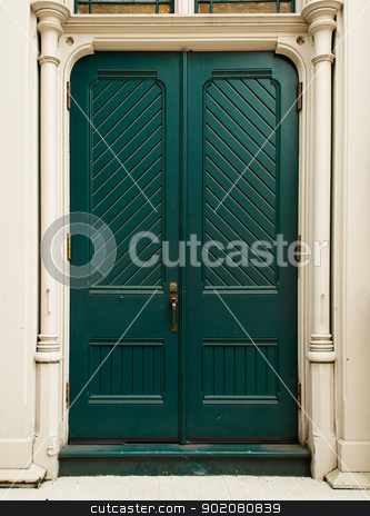 Colonial Green Door stock photo, Colonial style Colonial Green Doorr on white house  by bobkeenan