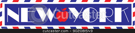 Love New York stock vector clipart, Designed in the style of a vintage travel trunk sticker, with the bold letters