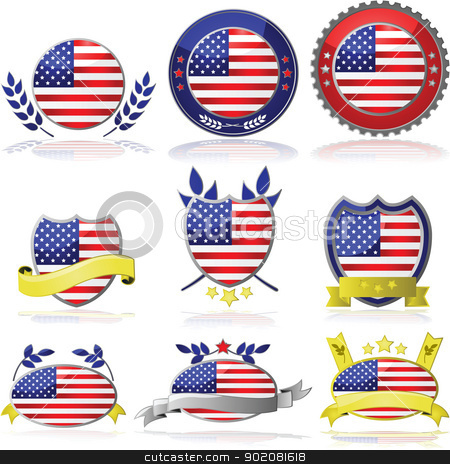 USA badges stock vector clipart, Collection of glossy badges with the flag of the United States by Bruno Marsiaj