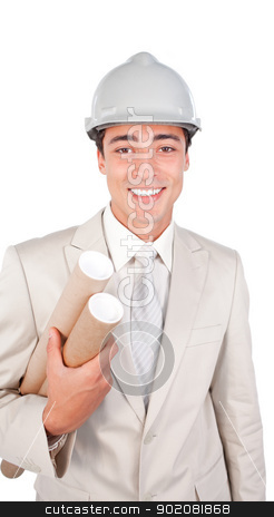 Young ethnic architect wearing a hardhat  stock photo, Young ethnic architect wearing a hardhat isolated on a white background by Wavebreak Media