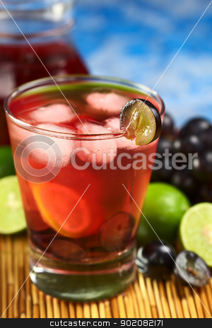 Red Grape Lemonade stock photo, Refreshing homemade red grape lemonade made of red grape and lime juice chilled with ice cubes (Selective Focus, Focus on the front rim of the glass and the front of the grape slice garnishing the rim) by Ildiko Papp
