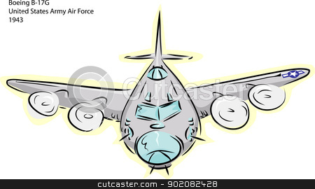 B-17G Bomber Plane stock vector clipart, Sketch of Boeing B-17G World War II bomber plane over white by Eric Basir