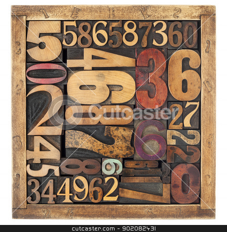 number abstract in wood type stock photo, number abstract - vintage letterpress wood type blocks in a box, different size and style by Marek Uliasz
