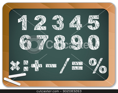 Chalk Numbers on Blackboard stock vector clipart, Vector - Chalk Numbers on Blackboard by AUGUSTO CABRAL
