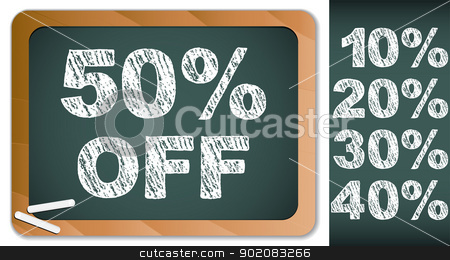 Sale Percentages on Blackboard with Chalk. Other percentages in  stock vector clipart, Vector - Sale Percentages on Blackboard with Chalk. Other percentages in my portfolio. by gubh83