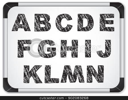 Black Alphabet on Whiteboard stock vector clipart, Vector - Black Alphabet on Whiteboard by gubh83