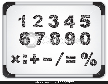 Black Numbers on Whiteboard stock vector clipart, Vector - Black Numbers on Whiteboard by gubh83