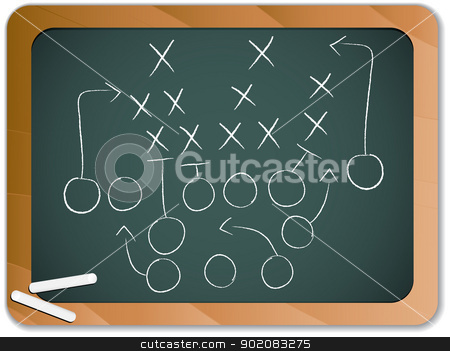 Teamwork Football Game Plan Strategy on Blackboard stock vector clipart, Vector - Teamwork Football Game Plan Strategy on Blackboard by gubh83