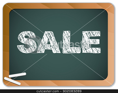 Sale written on blackboard with chalk. stock vector clipart, Vector - Sale written on blackboard with chalk. by gubh83