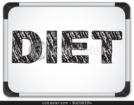 Diet written on whiteboard with chalk. stock vector clipart, Vector - Diet written on whiteboard with chalk. by Augusto Cabral Graphiste Rennes