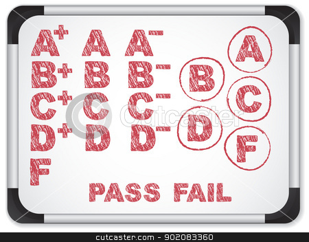 Whiteboard with School Results Grades with Chalk stock vector clipart, Vector - Whiteboard with School Results Grades with Chalk by gubh83