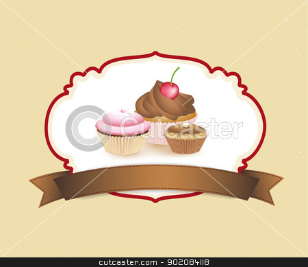 Cupcakes stock vector clipart, cupcake card in vintage style a retro 4 by Miroslava Hlavacova