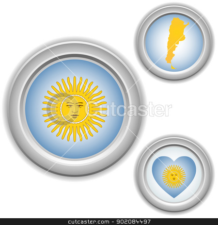 Argentina Buttons with heart, map and flag stock vector clipart, Vector - Argentina Buttons with heart, map and flag by Augusto Cabral Graphiste Rennes