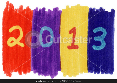 2013 written with colorful felt tip marker pens. stock photo, 2013 written with colorful felt tip marker pens. by Stephen Rees