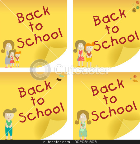 Back to School Sticky Note stock vector clipart, Back to School yellow sticker note. Add your message. by AUGUSTO CABRAL