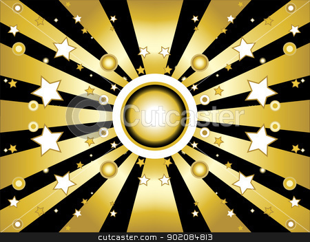 Stars and circles golden background stock vector clipart, Stars and circles golden retro background by gubh83