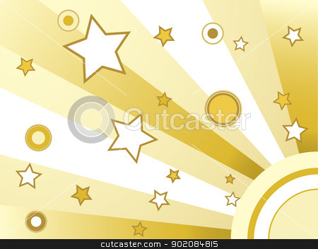 Stars and circles background stock vector clipart, Stars and circles background golden retro background by gubh83