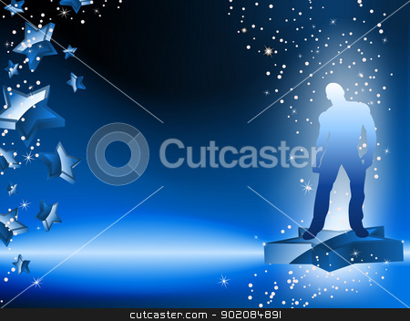 Boy Dancing on Star Blue Flyer stock vector clipart, Boy Dancing on Star Blue Flyer. Editable Vector Image by gubh83