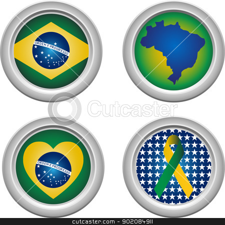 Brazil Buttons stock vector clipart, Brazil Buttons with ribbon, heart, map and flag by gubh83