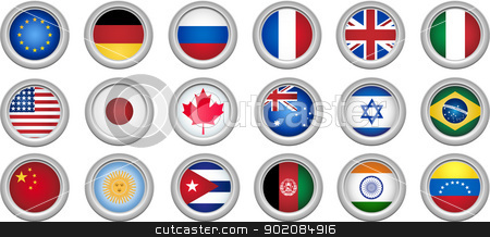 Buttons Flags stock vector clipart, Set of 18 buttons for several countries by AUGUSTO CABRAL