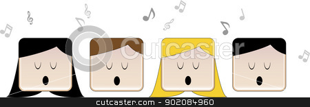 Choir stock vector clipart, 4 people in choir singing with music notes by Augusto Cabral Graphiste Rennes