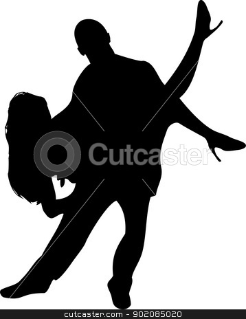 Couple of Dancers Silhouette on white background. stock vector clipart, Couple of Dancers Silhouette on white background. Editable Vector Illustration by Augusto Cabral Graphiste Rennes