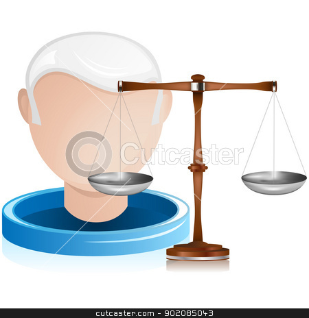 Senior Judge with Justice Balance stock vector clipart, Vector - Senior Judge with Justice Balance by Augusto Cabral Graphiste Rennes