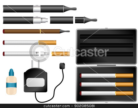 Electronic Cigarette Kit with Liquid, Charger and Case stock vector clipart, Vector - Electronic Cigarette Kit with Liquid, Charger and Case by Augusto Cabral Graphiste Rennes