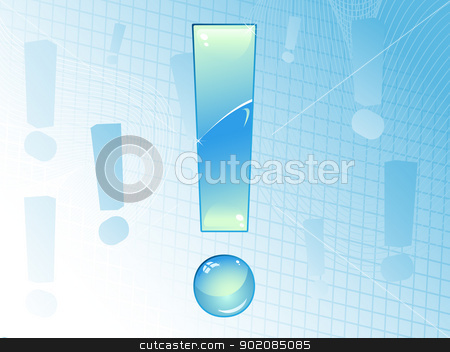 Blue and Glossy Exclamation Mark Background.  stock vector clipart, Blue and Glossy Exclamation Mark Background. Editable Vector Image. by Augusto Cabral Graphiste Rennes