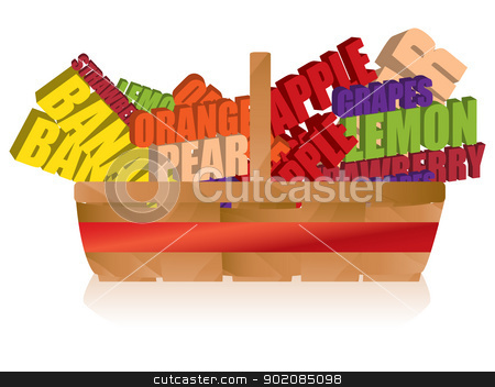 Fruit Basket with Typography stock vector clipart, Vector - Fruit Basket with Typography by Augusto Cabral Graphiste Rennes