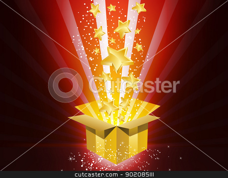 Christmas Golden Gift Box with Stars stock vector clipart, Vector - Christmas Golden Gift Box with Stars by AUGUSTO CABRAL