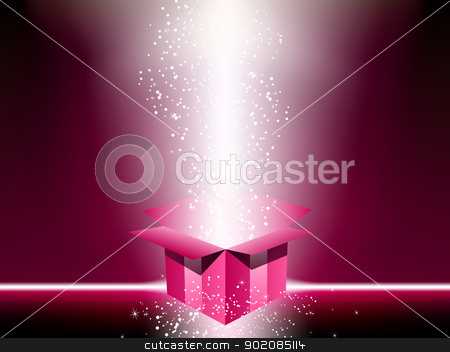 Pink gift box with stars. stock vector clipart, Pink gift box with stars. Editable Vector Image by AUGUSTO CABRAL