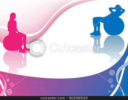 Girl Ball stock vector clipart, Girl doing exercises on ball with big copyspace by Augusto Cabral Graphiste Rennes